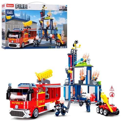 Конструктор SLUBAN M38-B0967 пожарные транспорт, здание, фигурки,585дет,в коробке, 47,5-33-7см