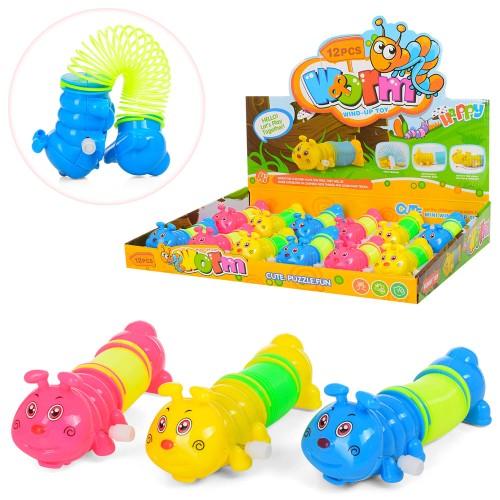 Заводная игрушка LY2018C гусеница, 12 см, с пружинкой, 12шт (3цвета) в дисплее 34-29-5.5 см