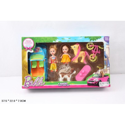 Кукла маленькая 012-1A (48шт/2) с куколкой, машинкой, велосипедом, пони, собачкой, в кор. 37, 5*22*7см