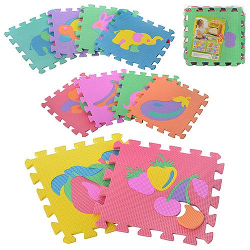 Коврик мозаика M 0376 EVA, фрукты и животные, 10шт