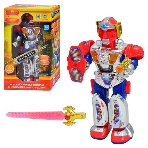 Робот 99001 звук (рус), свет, ходит, поворачивает корпус, на бат-ке, в кор-ке, 32-18-10см