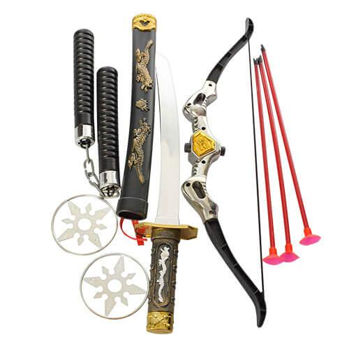 Набор ниндзя 8610 лук, стрелы присоски 3шт, меч, нунчаки, сюрикен 2шт, в кульке 15-50-5см