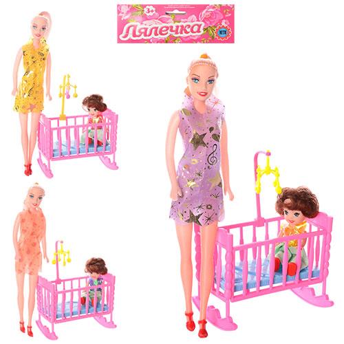 Кукла 339-2 с кроваткой 27см