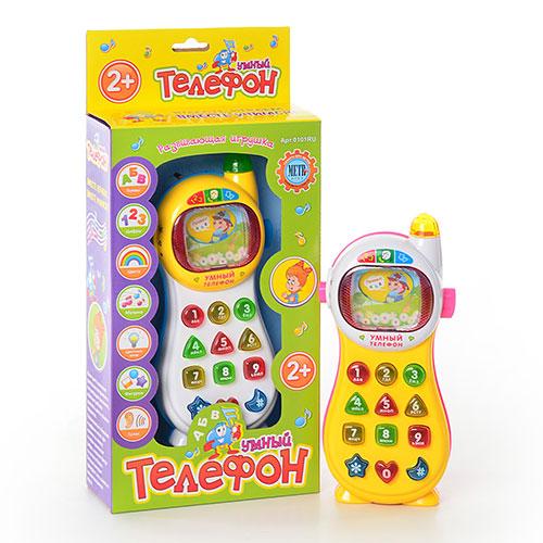 Умный телефон 0101RU, Умный телефон 7028, 7 функций, обучающий (буквы, цифры, цвета, фигуры), музыкальный, светится, русский язык, 2 цвета