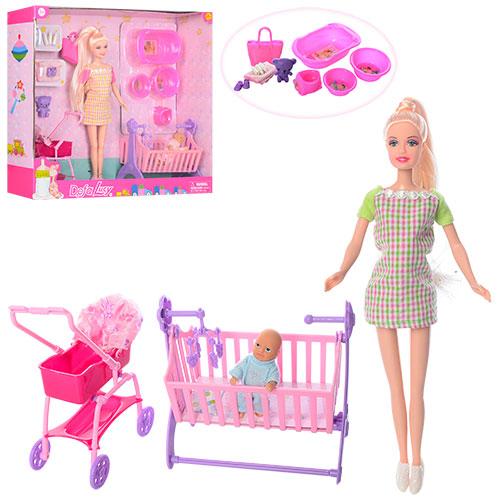 Кукла DEFA 8363 29см,беременная,коляска,кроватка,аксессуары,2цв,в кор-ке 40.5-35-9,5см