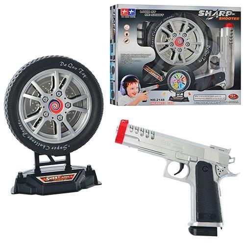 Тир 2148 (48шт) пистолет с мишенью муз, свет, на бат-ке, в кор-ке, 31-26-6 см