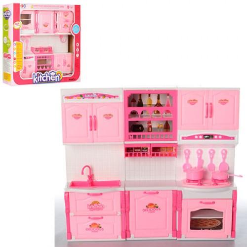 Мебель 6877-A (24шт) кухня, 36-32-7,5см, посуда, звук, свет, на бат-ке, в корке,40,5-36-8,5см
