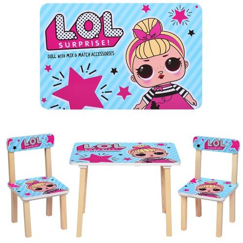 Столик 501-24 LOL,д60-ш40-в42см,со стульчиком,ш30-г30-в51см,высот.до сид.22см (в наличии)
