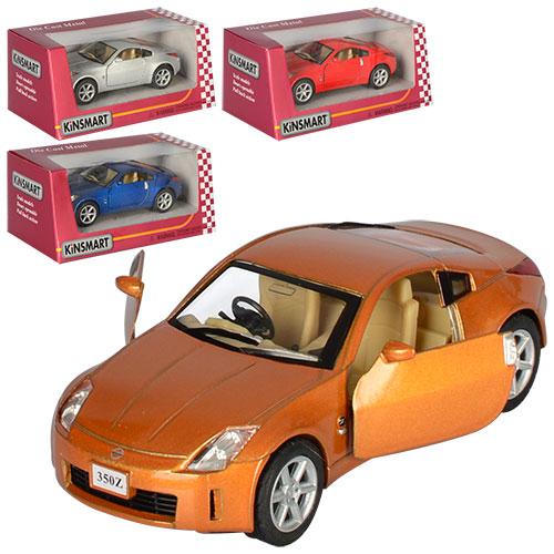 "Машина KT 5061 W ""Nissan 350Z"" металл, инер-я, 1:34, ,откр.дв, рез.колеса,4цвета, в кор-ке метал 16-7-8см"