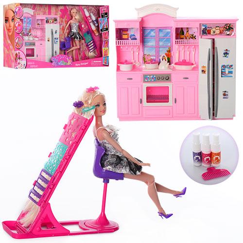 Мебель 66871 кухня,кукла 29 см,шарнир,дочка 10см,трафарет,краска для волос,в кор 67-34-11 см