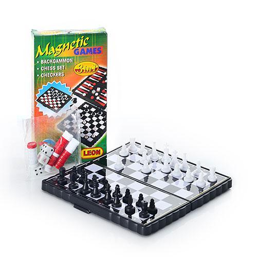 Шахматы 2831 3 в 1 мал, в кор-ке, 13,5-7,5-2см